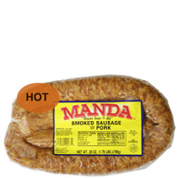 Manda's Hot Smoked Pork Sausage 28 oz